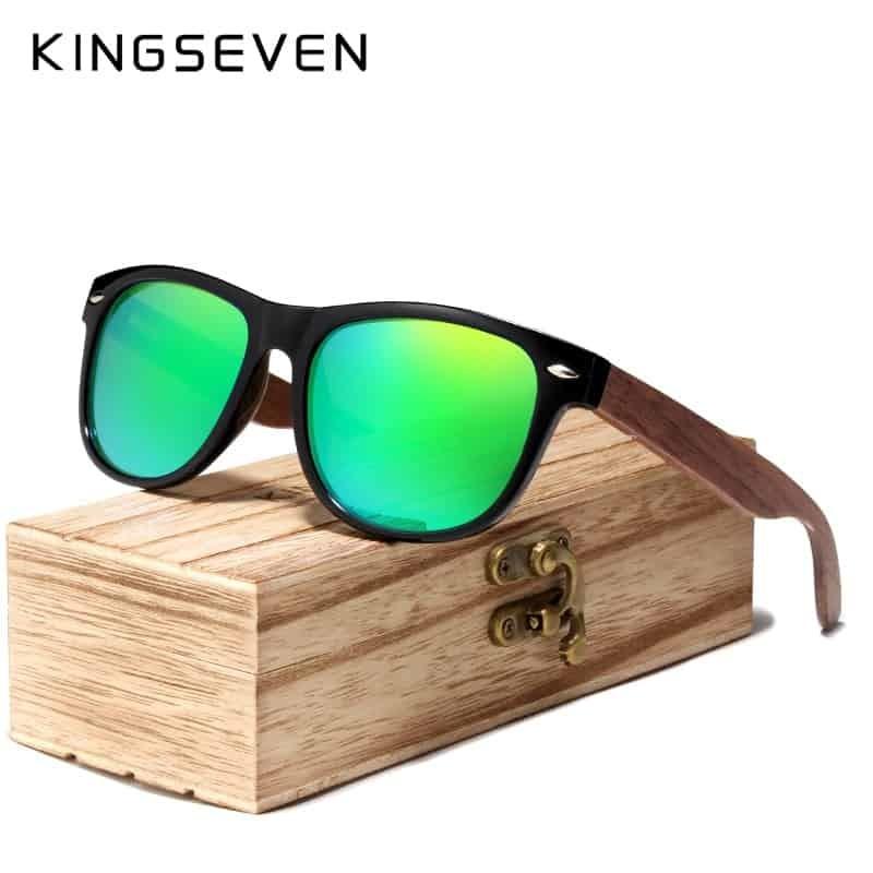 11d4321ff2f37 KINGSEVEN 2019 Black Walnut Sunglasses Wood Polarized Sunglasses Men UV  Protection Eyewear With Wood Box Oculos de sol