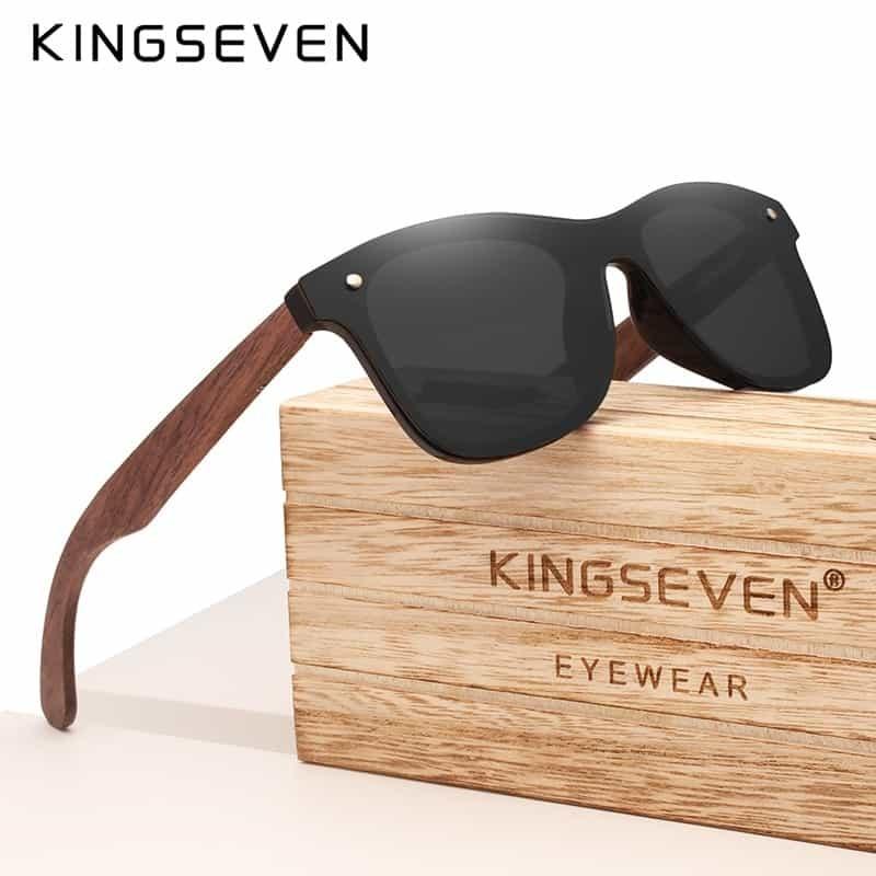 2df3e866c5 KINGSEVEN 2019 Handmade Polarized Walnut Wood Sunglasses Fashion Men Women  Brand Design Colorful Sun Glasses Mirror Shades
