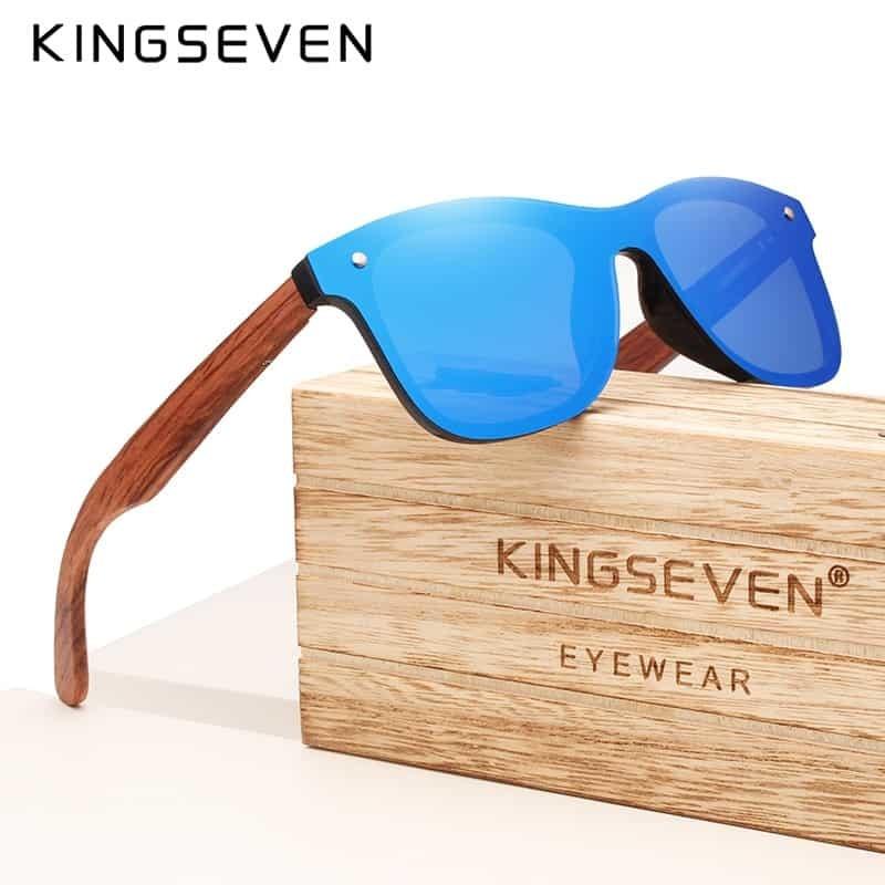 Kingseven Brand 2019 Wooden Vintage Sunglasses Men Polarized Flat Lens Rimless Square Frame Women Sun Glasses Oculos Gafas