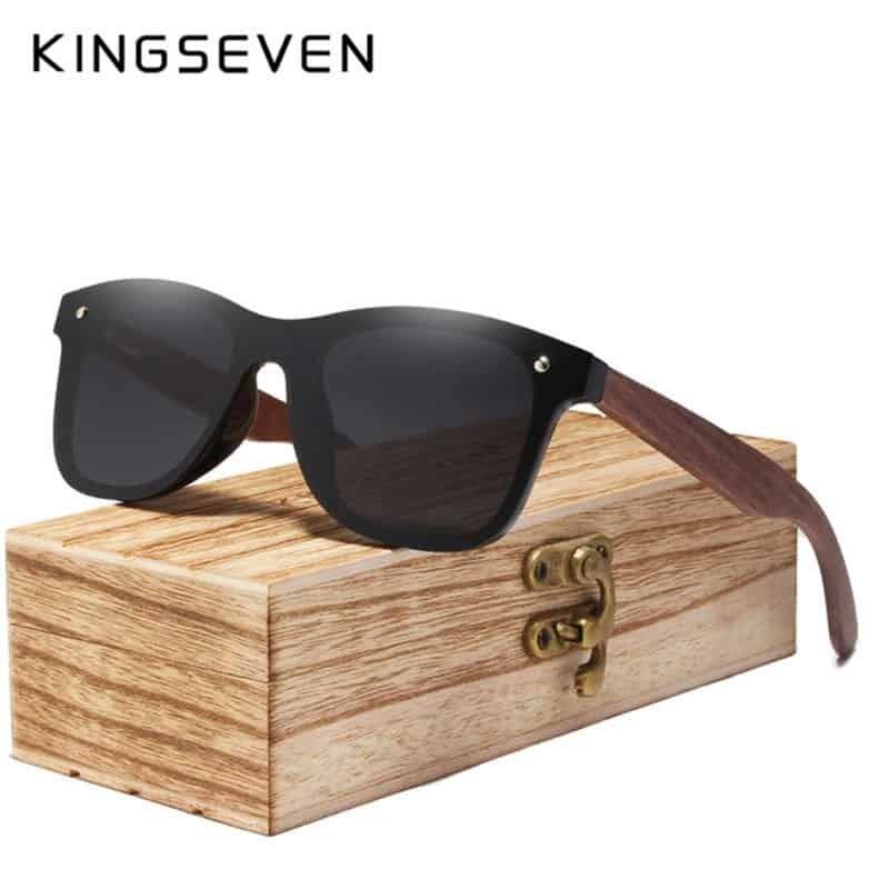 92c747b427b40 KINGSEVEN Gray Polarized Lens New Zebra Wood Sunglasses Women Men Luxury  Brand Vintage Wooden Sun Glasses Retro Eyewear