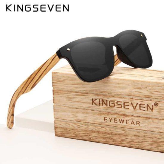 07d743f84e0 KINGSEVEN Gray Polarized Lens New Zebra Wood Sunglasses Women Men Luxury  Brand Vintage Wooden Sun Glasses Retro Eyewear