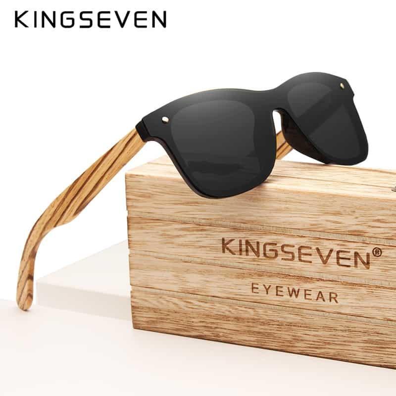 3fc2d4d8f0 KINGSEVEN Gray Polarized Lens New Zebra Wood Sunglasses Women Men Luxury  Brand Vintage Wooden Sun Glasses Retro Eyewear
