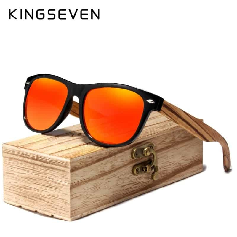 fbec055557755 KINGSEVEN Red Mirror Wood Sunglasses Women Ladies Zebra Wood Bamboo Vintage  Polarized Sunglasses For Men oculos de sol