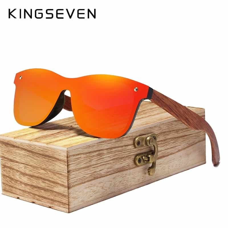 6d6521b9d72 KINGSEVEN Rimless Polarized Wood Sunglasses Square Frame Women Men ...