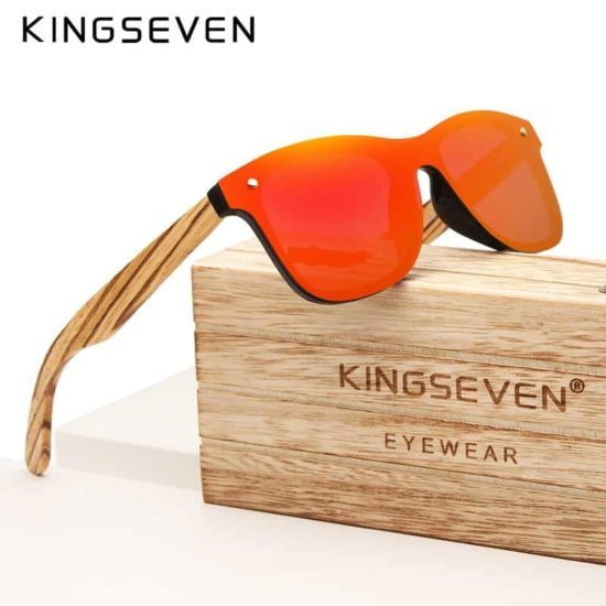 860a9f0f7a5c KINGSEVEN 2019 Handmade Brand Design Zebra Polarized Sunglasses Men/Women  Mirror Lens Original Wood Eyewear Oculos de sol
