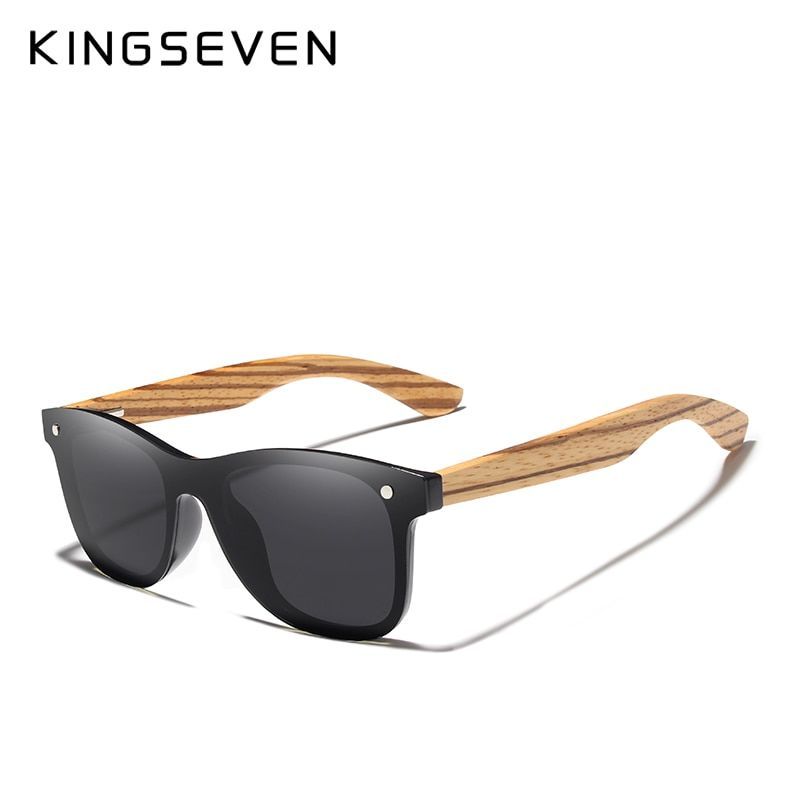 9b6d766af2 KINGSEVEN 2019 polarizadas gafas de sol cuadradas de las mujeres de los  hombres de espejo de marco de madera lente plana conduciendo UV400 gafas