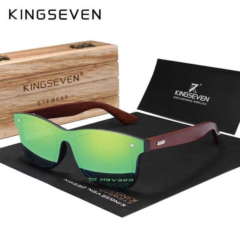 Kingseven Natural Wooden Sunglasses Men Polarized Fashion Sun Glasses Original