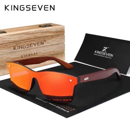 cadf42d66e75f8 KINGSEVEN Wood Sunglasses Men Women Square Bamboo Women Mirror Sun Glasses  Oculos de sol Masculino Handmade With Wooden Case